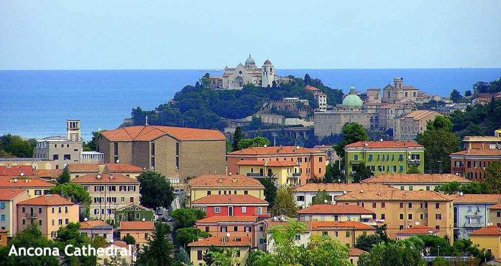 Beautiful cityscape with Ancona Cathedral on the top of the hill and seascape in the background