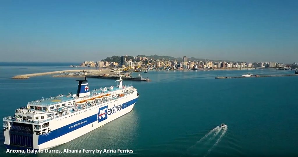 Adria ferries car ferry on its way to Albania from Italy