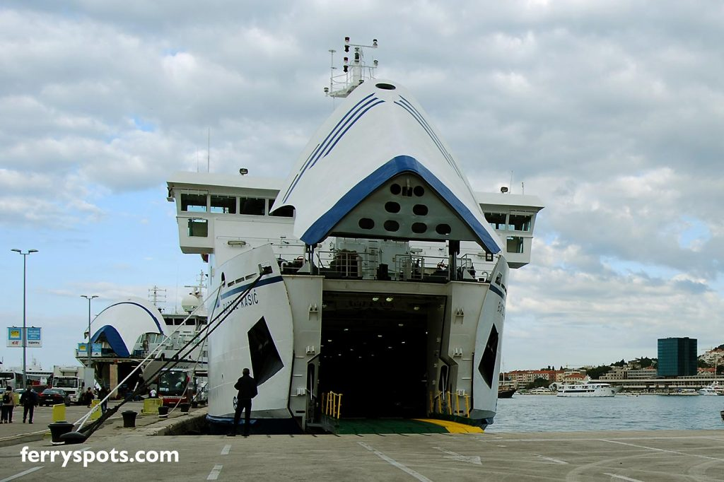 Split Ferry Port with ferries to Ancona ready for departure