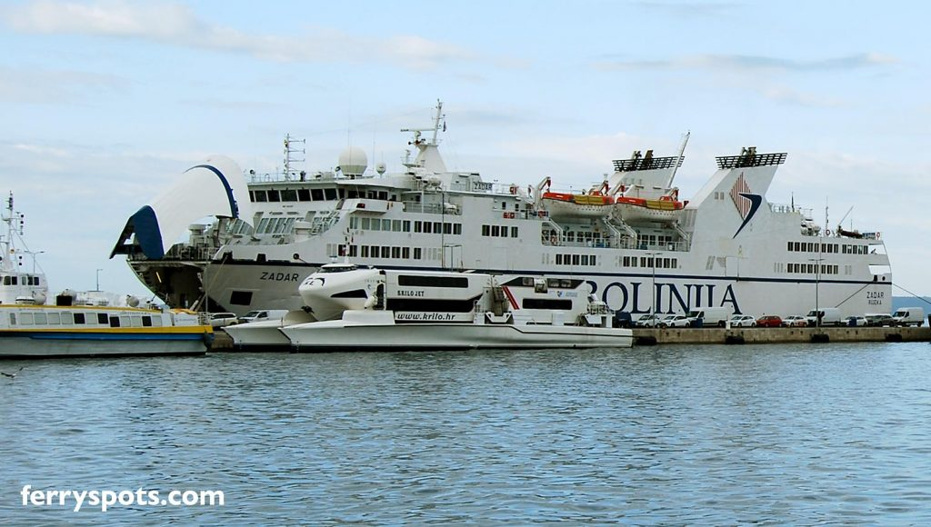 Large Car Ferry in Split ferry port serving Ancona to Split ferry line
