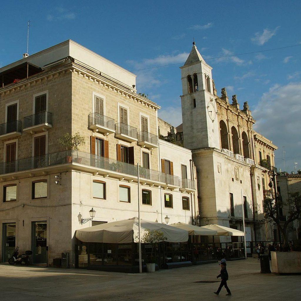 Square with church in Bari