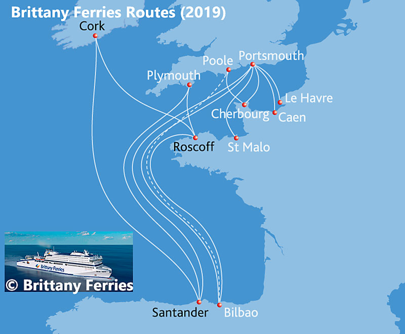 Map of Brittany Ferries Routes