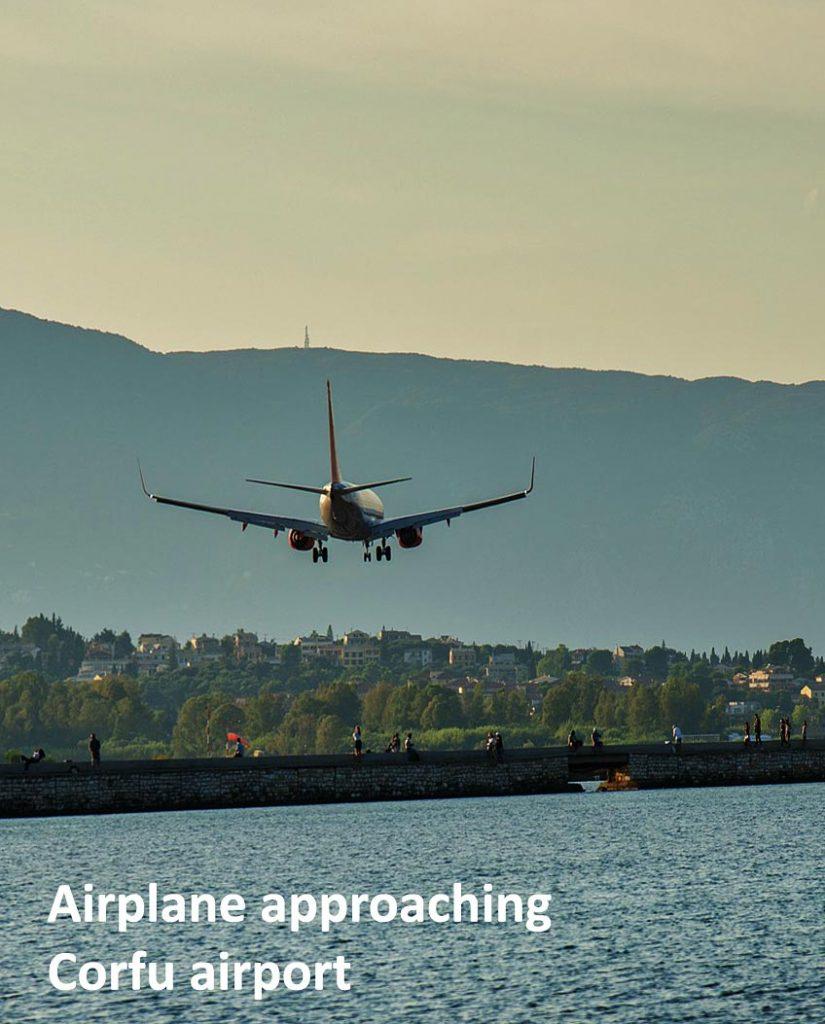 Airplane approaching Corfu airport