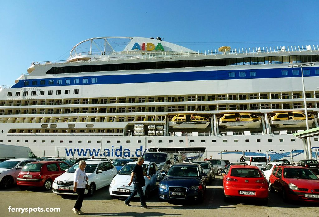 Large cruise ship and parking places in Dubrovnik cruise and ferry terminal