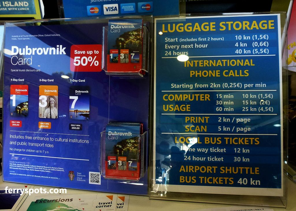 Price list for luggage storage in Dubrovnik ferry port