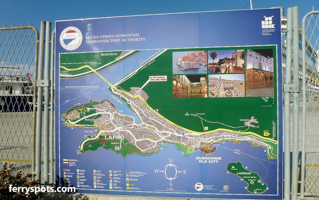 Map of Dubrovnik ferry port issued by Dubrovnik Port Authority (Lucka Uprava Dubrovnik)