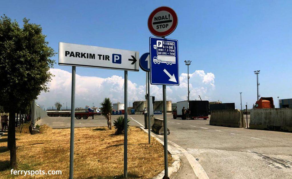 Parking lot in Durres Port, Albania