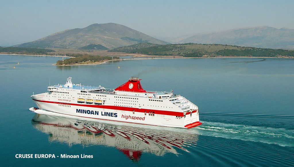 Italy to Greece ferry Cruise Europa run by Minoan Lines serving Venice and Ancona to Greece routes