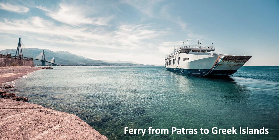 Local car ferry on its way to Greek islands