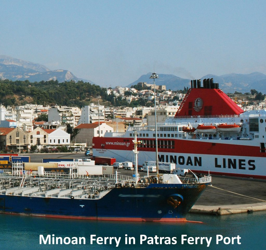 Minoan Lines ferry in Patra old ferry port