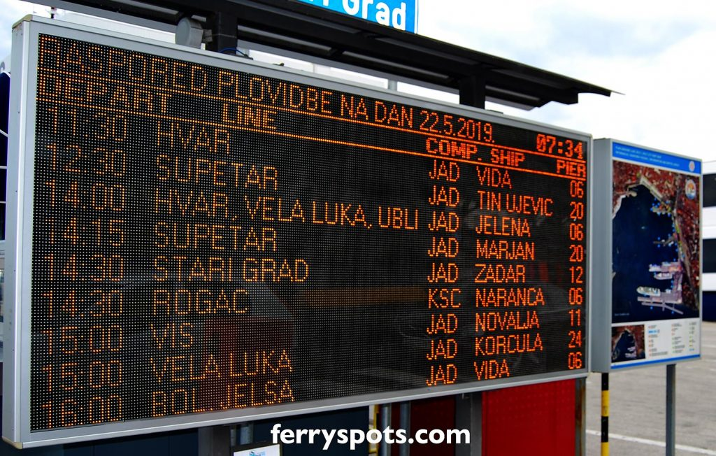 Ferry Schedules display in Split ferry port - handy for up to date local timetables