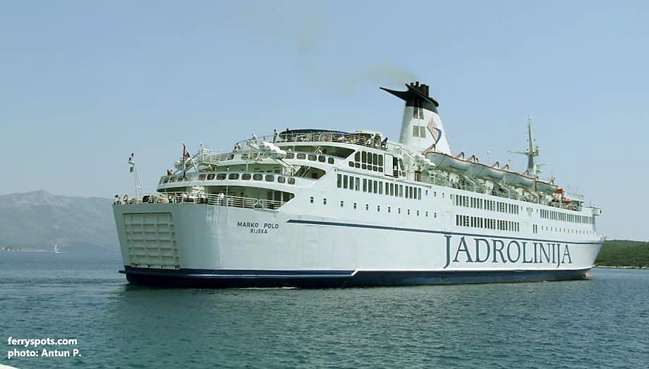 Jadrolinija's ferry Marko Polo crosses the Adriatic from Ancona to Split