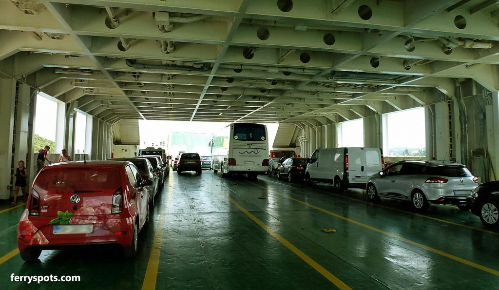 Car ferry parking deck can be slippery - wear non slippery shoes!